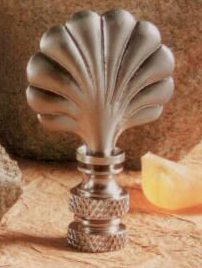 Mini Scallop Shell Lamp Finial in Brushed Nickel