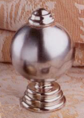 Ball on Tiered Base Lamp Finial in Brushed Nickel