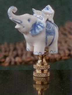 Blue and White Elephant Lamp Finial in Porcelain & Ceramic Finial