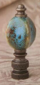 Marine Blue Bead Lamp Finial in Porcelain & Ceramic Finial