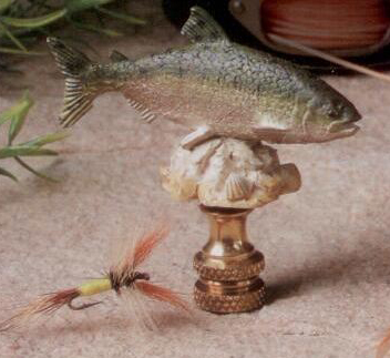 Salmon Lamp Finial in Painted Resin Finial
