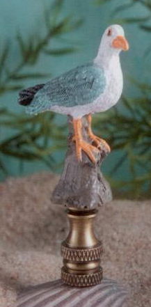 Seagull Lamp Finial in Hand Painted Resin Finial