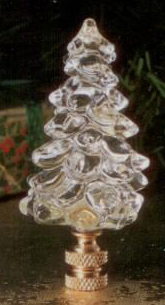 Clear Tree Lamp Finial in Glass Santa's Workshop Finial