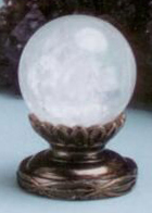 Ball 30mm Lamp Finial in Rock Crystal Scrolled-Base Finial
