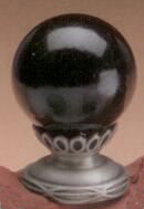 Black Ball 35mm Lamp Finial in Ceramic Scrolled-Base Finial