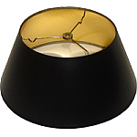 Short Round Black Parchment Lamp Shade with gold foil lining