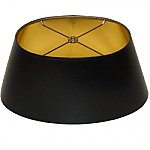 Short Oval Black Parchment Lampshade with Gold Foil Lining
