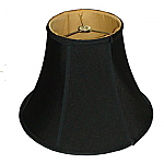 Black Bell Silk Shantung Lampshade with Gold Fabric Lining