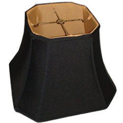 Square Cut Corner Black Silk Shantung Lampshade with Gold Fabric Lining