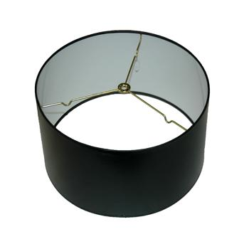 Black Parchment Shallow Drum Lampshade with White Hardback Lining