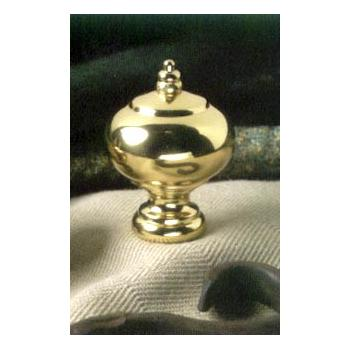 Polished Brass Ball Lamp Finial with Beaded Crown