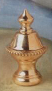Beaded Knob Lamp Finial in Polished Brass