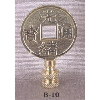 Solid Brass Chinese coin Lamp Finial