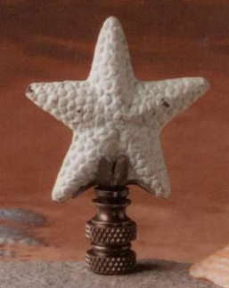 Starfish Lamp Finial in Antique White Iron