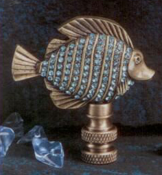 Tropical Fish Aegean Blue Glass Lamp Finial in Antique Glass