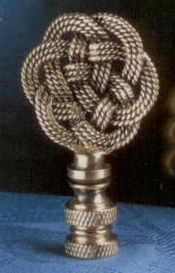 Woven Know Lamp Finial in Light  Antique  Brass
