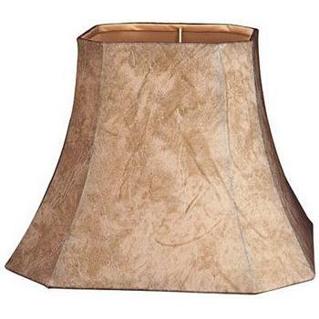 Square Cut Corner Faux Leather Lampshade with White Lining