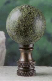 Green Lace Ball Lamp Finial in Stone