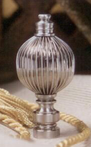 Fluted Ball Lamp Finial in Brushed Nickel