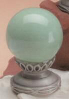 Sage Green Ball 35mm Lamp Finial in Ceramic Scrolled-Base Finial
