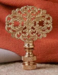 Oval Lamp Finial in Polished Brass