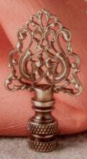 Cipher Lamp Finial in Antique Brass