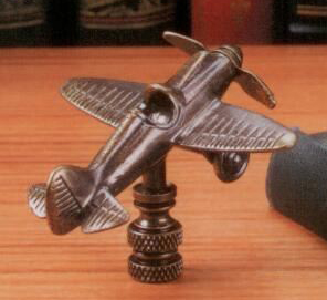 Vintage Airplane Lamp Finial in Antique Metal