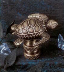 Sea Turtle  Lamp Finial in Antique Metal