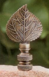 Mini Aspen Leaf Lamp Finial in Antique Metal