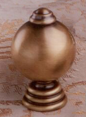 Ball on Tiered Base Lamp Finial in Antique Metal