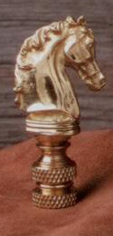 Horse Head Lamp Finial in Polished Brass