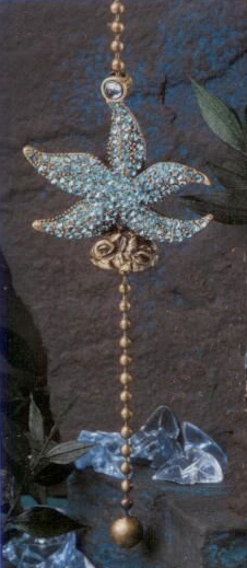 Antique Metal Starfish Aegean Blue Glass Fan Pull Chain