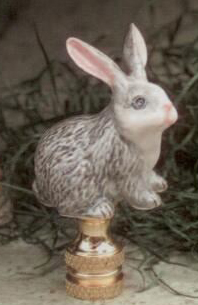 Gray Rabbit Lamp Finial in Porcelain & Ceramic Finial