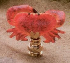 Crab Lamp Finial in Hand Painted Resin Finial