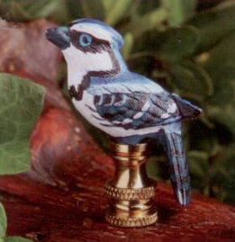 Blue Jay Lamp Finial in Painted Resin Finial