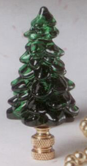 Evergreen Tree Lamp Finial in Glass Santa's Workshop Finial