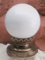White Ball 35mm Lamp Finial in Ceramic Scrolled-Base Finial